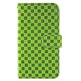 ホワイトナッツ Galaxy S5 ACTIVE SC-02G ケース 手帳 市松柄 グリーン オーダー スマホケース 手帳型 全機種対応