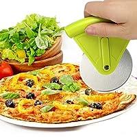 ピザカッター ボンドパウ グリーンピザカッター ホイール ステンレススチール 簡単グリップ ピザスライサー キッチンガジェット 保護ブレードガード付き