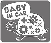 imoninn BABY in car ステッカー 【マグネットタイプ】 No.53 カメさん (シルバーメタリック)
