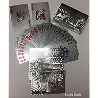 シルバー箔コーティングPlaying CardsフルPoker Deckギフト$ 100ユーロでシルバーカラーデザイン+無料Lucky Donkステッカー