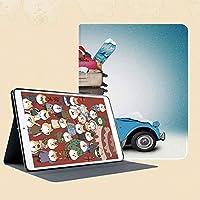 個性的 IPad Mini 1/2/3ケース Apple IPad Mini 1/2/3 用カバー 合成皮革 折り畳み ケース【マルチアングルスタンド 、インテリジェント休眠機能付き】旅行をテーマにした雪に覆われた画像スキー手荷物アイテム青ヴィンテージ車休日写真装飾
