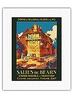 Salies-de-B?arn、フランス - スパ・観光 - SNCFフランスの鉄道 - ビンテージな鉄道旅行のポスター によって作成された ルネ・ルーセル c.1930s - キャンバスアート - 28cm x 36cm キャンバスアート(ロール)