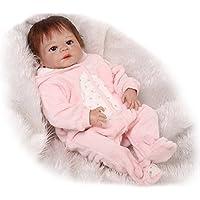 NPKDOLL リボーンベビードールハードシミュレーションシリコーンビニール22インチの55センチメートル磁気口リアルなアクリルの目でかわいい防水子供のおもちゃピンクのドレスの髪 Reborn Baby Doll A1JP