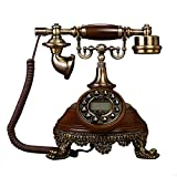European style solid wood antique telephone,antique european home dial rotary landline style office classic creative metal fashion (Color : Deluxe)