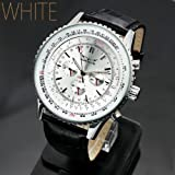 JARAGAR ビッグ フェイス 自動巻き クロノグラフ 腕時計 AC-W-BCG40 文字盤 白
