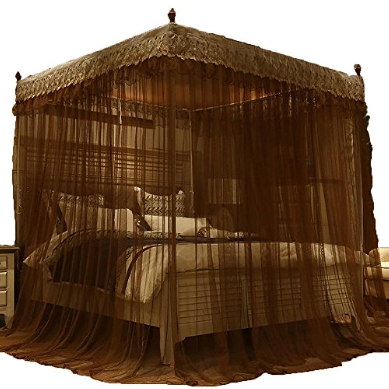 蚊帳 モスキートネット 刺繍レースボウタイ長いオーバラップドア長いランディングプリンセス風 TINGTIGN (色 : コー??ヒー, サイズ さいず : 1.5M)