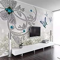 Bzbhart テレビの背景装飾画、壁用ステッカーヨーロッパクリスタルフラワーバタフライジュエリー3D壁画壁紙リビングルームの背景ウォールクロス家の装飾-250cmx175cm