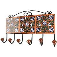 IndianShelfハンドメイドセラミックオレンジリーフフローラルタイルタオルフック/ホルダー/ハンガー1 Piece (hk-1792 ) 標準 オレンジ