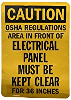 "Hypothesis 40x30cm 警告ポスター ブリキ 看板""Caution: Electrical Panel Must be Kept Clear"" Black on Yellow"