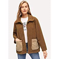 INFASHION Women's Camel Casual Contrast Pocket Zip Up Teddy Coat with Long Sleeve Pocket