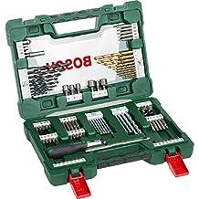 Bosch 2607017195 V-Line Titanium and Screwdriver Drill Bits with Ratchet Screwdriver (91 Piece Set)
