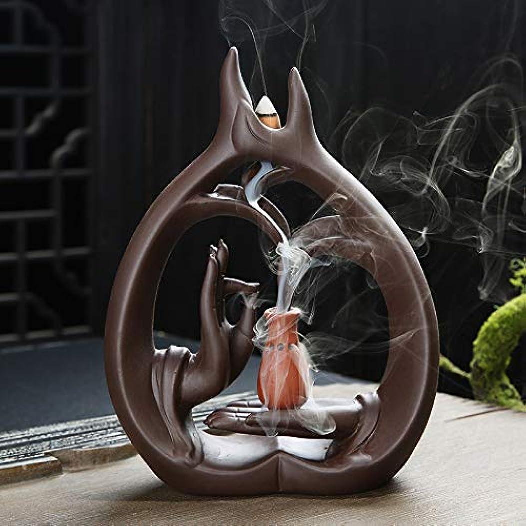 炭水化物自転車囚人アロマセラピーロッドバーナーブラケット-Zisha Buddha Hand Waterfall Incense Burner Large Sandalwood Furnace Creative Fragrance Xiangxiang...