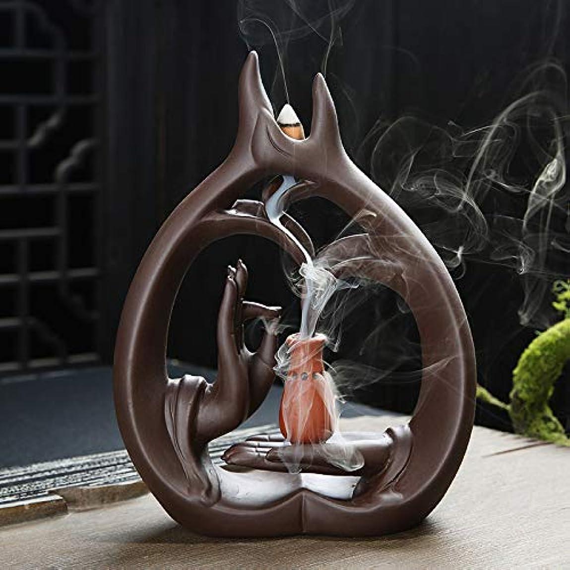 グリット希少性ヒントアロマセラピーロッドバーナーブラケット-Zisha Buddha Hand Waterfall Incense Burner Large Sandalwood Furnace Creative Fragrance Xiangxiang...
