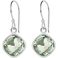 Orchid Jewelry 1.91 CTW Natural 8X8MM Cushion Green Amethyst 925 Sterling Silver Dangle Earrings For Women – A February Birthstone Gemstone- A Beautiful Pair For Little Girls and Lovely Ladies