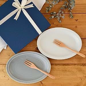 テーブルウェアイースト 新生活食器セット 4点 ドットオーバルプレート24cm (マットグレー・マットミルク) 食器セット お皿セット ギフト