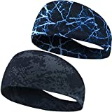 HeyFive Sports Elastic Workout Hairband for Men Wide Athletic Head Band Tennis 2 Pack 2020 Upgrade …
