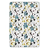 Bathroom Bath Rug Kitchen Floor Mat Carpet,Leaves,Flowers Colorful Leaves Poison Ivy Contemporary Decorative Design,Black Brown Red Yellow Teal Cream,Flannel Microfiber Non-slip Soft Absorbent