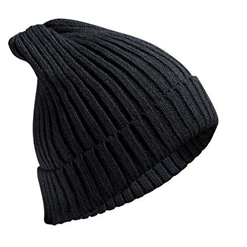 FREETOO ニット帽 メンズ レディース ニットキャップ ケーブルニット 防寒 軽量 シンプル 折り返し 伸縮性有り スキー スノボ アウトドアなど適用 ブラック