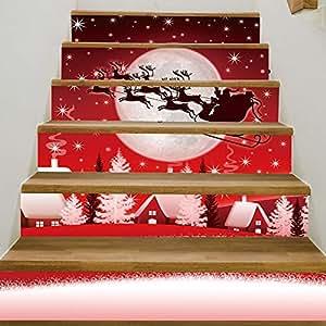階段ステッカークリスマスデコレーション自己粘着壁紙クリスマスキャリーPVC壁ステッカーホームデコレーションDIY HDステップ貼り付け可動壁ステッカー