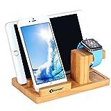apple watch 充電スタンド 木製,BAVIER® 竹製 スタンド アップルウォッチ スタンド,充電クレードルドック,チャージャースタンド/チャージドックiPad,iphone6 plus/ iphone6/iphone5s Samsung,Sonyに対応 (B1, 木の色)