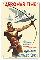 22cm x 30cmヴィンテージハワイアンティンサイン - Aeromaritime - C?te Occidentale d'Afrique, de Dakar ? Pointe Noire (ダカール、セネガルからポアントノアール、コンゴのアフリカの西海岸) - ビンテージな航空会社のポスター によって作成された アルベール・ブルネ c.1937