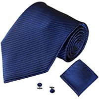 OVERMAL Neckties 3PCS Classic Jacquard Men Party Tie Pocket Square Handkerchief Cuff Link