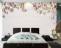 Yosot 木の板の花写真・ボード 3d の壁紙のリビングルームベッドルームのテレビのソファーの壁のレストランの壁のペーパーの家の装飾-250cmx175cm