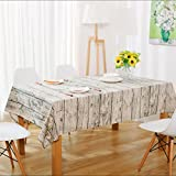 gardenlightess テーブルクロス 食卓カバー 木目調 アンティーク ナチュラル 模様 布 リネン 140×220cm