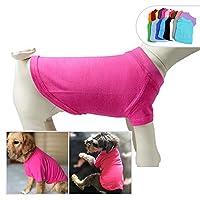 2019ペットTシャツ衣類100%コットンコスチュームパピー犬の服ブランクTシャツ大きなミディアム小型犬のTシャツ Rose-red S