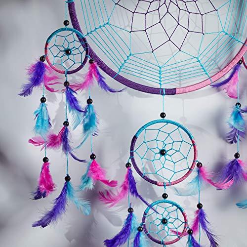 Caught Dreams Dream Catcher ~ Handmade Traditional Aqua Blue Pink & Purple 10.5 Diameter & 27 Long!
