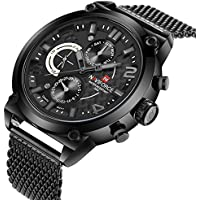 Naviforce Military Mens Designer Wristwatch- Premium All Black Face Design with Mesh Steel Wrist Band- Quartz 12 and 24hr Date and Time Display- Water Resistant Watch Features and Rugged Face Display- Gift Packaging Included