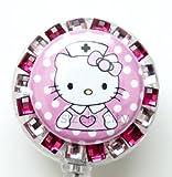 カラフルな看護婦Hello Kittyバッジリール、ラインストーン格納式バッジリールまたはキーチェーン