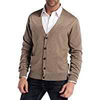 Kallspin Men's Relax Fit V-Neck Cardigan Sweater Cashmere Wool Blend Button Down with Pockets