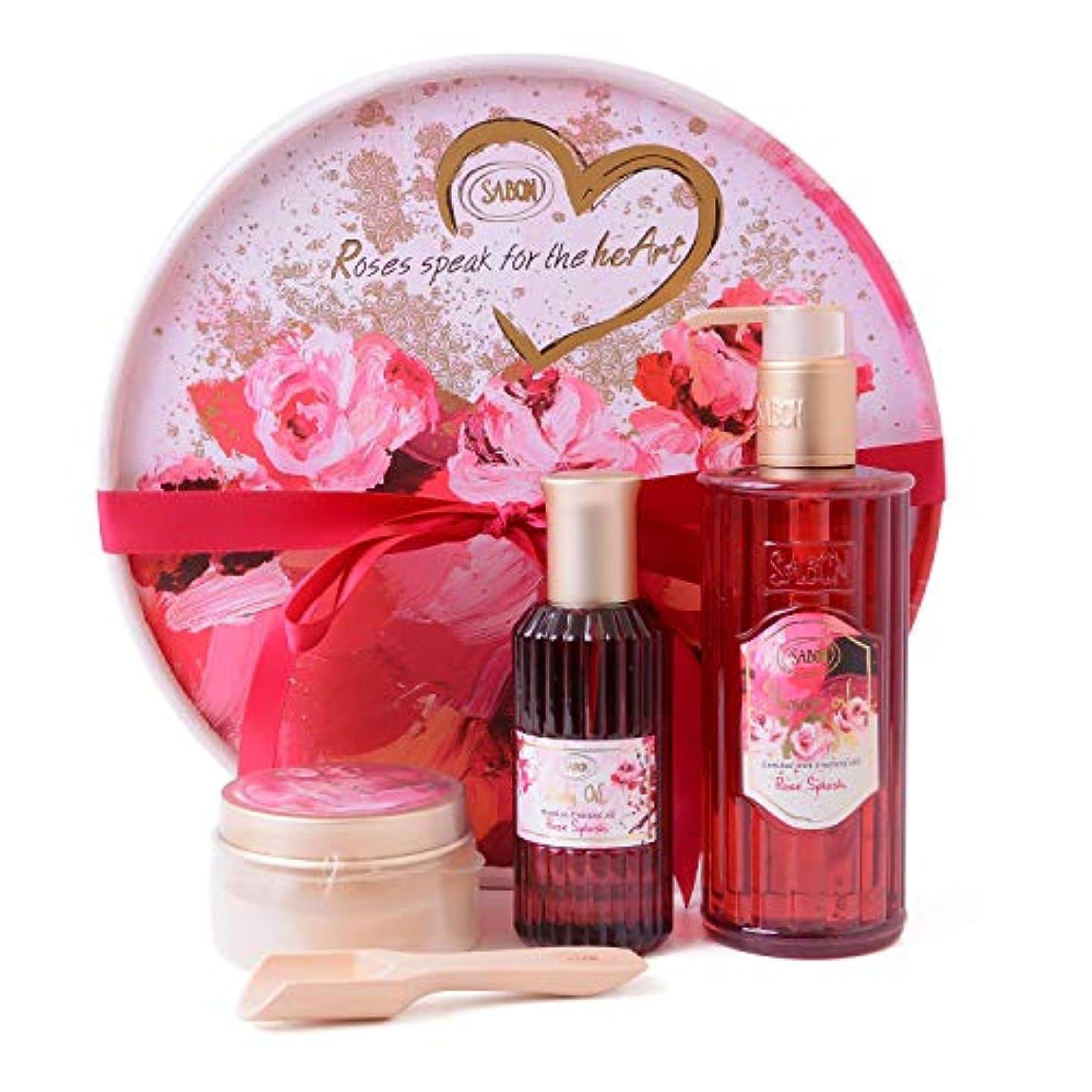 留まる外出コンベンション[サボン] SABON ギフトセット Roses speak for the heart シャワーオイル ボディスクラブ ボディオイル ショップバッグ付 (限定セット)