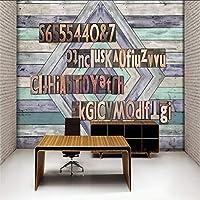 Lixiaoer 写真壁紙レトロなノスタルジックな木製の壁の救済英語の背景壁のリビングルームの壁紙ホテル装飾的な壁画-200X140Cm