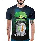 メンズ Tシャツ 半袖 創意デザイン おもしろ 3Dプリント V系 カジュアル 男女兼用 トップス かわいい 萌え 可愛い 黒と白の猫柄 お揃い 贈り物 Timsa (2XL, 帽子をかぶった猫柄)