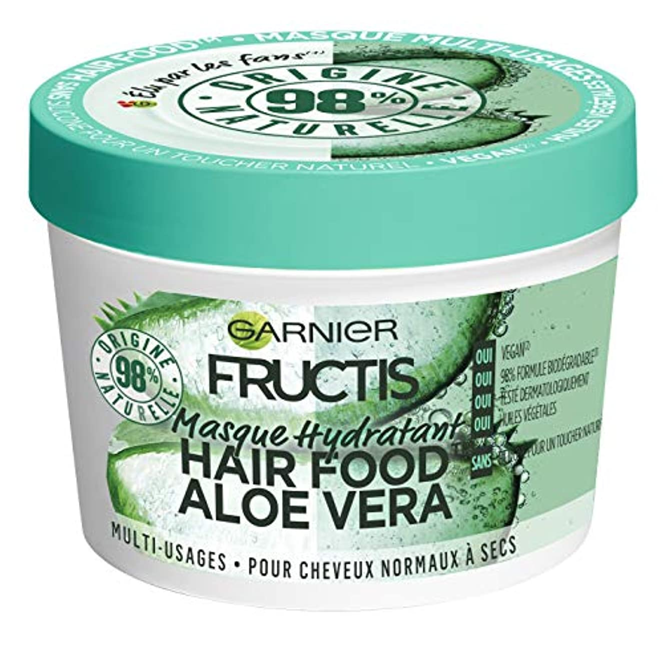 比類のない近々容赦ないガルニエFructis髪食品アロエ多目的マスク390 ml - 3枚組