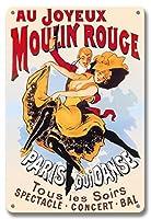 22cm x 30cmヴィンテージハワイアンティンサイン - Au Joyeux Moulin Rouge (ムーラン・ルージュで楽しく) - ムーラン・ルージュ・キャバレー - パリ、フランス - Qui Danse Tous les Soirs (毎晩踊る) - 見世物 ? コンサート ? 舞踏会 - ビンテージな劇場のポスター c.1890s