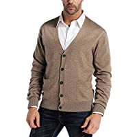 CHAUDER Kallspin Men's Relax Fit V-Neck Cardigan Sweater Cashmere Wool Blend Button Down with Pockets Coffee