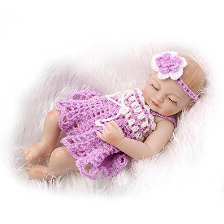 Full Body Silicone Lifelike Sleeping Girl Baby Reborn Mini Doll Kids Toy Gifts,10-Inch by NPK
