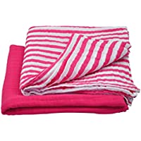 green sprouts Muslin Swaddle Blankets made from Organic Cotton,Hot Pink Set by green sprouts