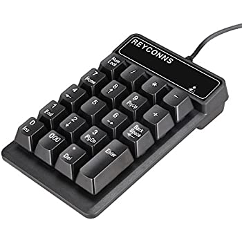 REYCONNS有線USB接続浮動キー テンキー、配1.5mケーブル、高品質なABS材質、配備特別な000キー、支持WINDOWSや他の主流オペレーティングシステム RKP003