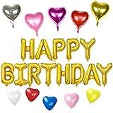 誕生日パーティー HAPPY BIRTHDAYバルーン (ゴールド) ハート型風船10個 5色 飾り付け セット(AI-07)