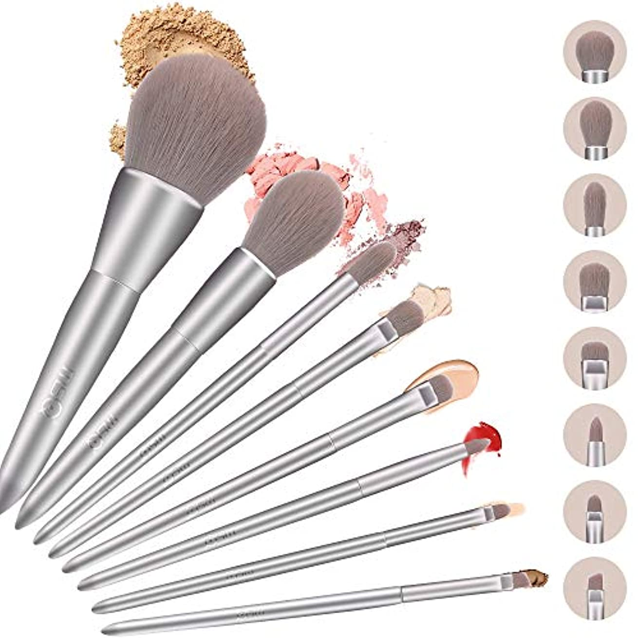 コンペ意図する適性MSQ メイクブラシ 8本セット 誕生日プレゼントゃギフトにもおすすめ 化粧プラシ [ フェイスブラシ パウダ一ブラシ アイシャドウブラシ ] 高級繊維毛 日常の化粧 集まる化粧 (銀, 8本)