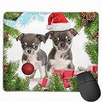 デスクトップ、コンピュータ、PCおよびラップトップ用の2つのクリスマス犬滑り止めラバーマウスマットマウスパッド9.8 x 11.8インチ(25 x 30 cm)