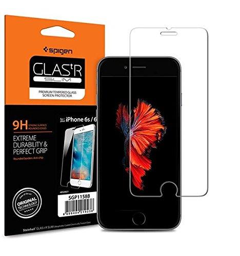 Spigen iPhone6s ガラスフィルム / iPhone6 ガラス フィルム, [ 液晶保護 9H硬度 Rラウンド 加工 ] GLAS.tR SLIM アイフォン6s / 6 用 (iPhone6s / 6, GLAS.tR SLIM (1枚入))