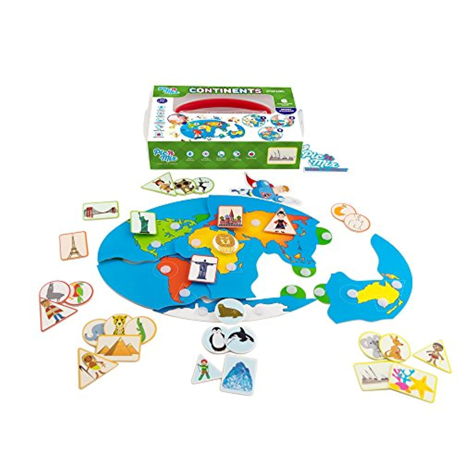 (Continents) - Picnmix Educational Learning Toy and Game Sticker Puzzle for 3 year olds to 7 year olds