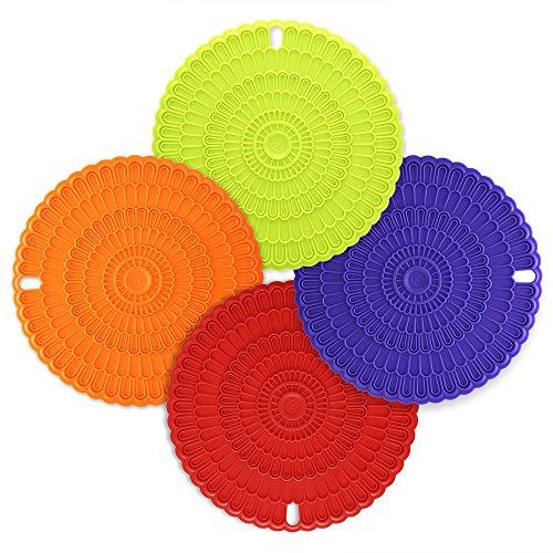 Zanmini 鍋敷き 食品用シリコン 耐熱 滑り止め おしゃれ 食洗器対応 花柄型押し 20cm 円形 4枚セット (4色セット)