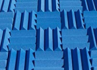 Soundproofing Acoustic Studio Foam - Blue Color - Wedge Style Panels 12in x 12in x 4 Inch Thick Tiles [並行輸入品]