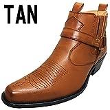 「DECT」ウエスタンブーツ ショートブーツ サイドゴア メンズブーツ リングブーツ 110-245-TAN